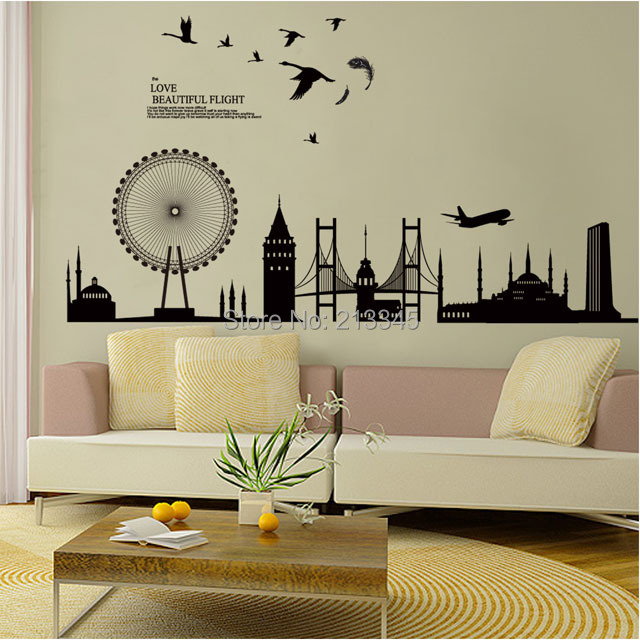 Fundecor diy wall sticker home decor decals modern city for Diy living room decor