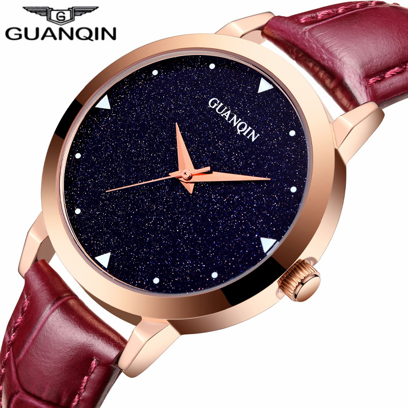 ФОТО relogio feminino GUANQIN Watch Women Dress Starry Sky Design Simple Quartz Watch Ladies Fashion Casual Leather Wristwatch Hot