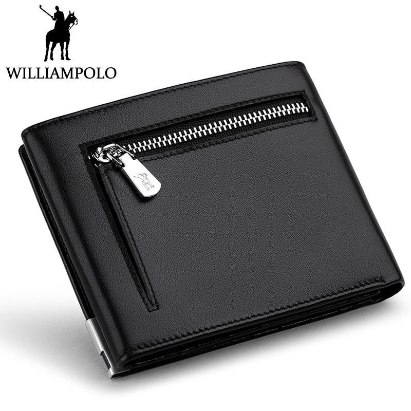 WILLIAMPOLO 2018 Trifold Wallet Men Zipper Coin Pocket Purse Genuine Leather Short Wallet For Men Fashion Card Holder Photo Case williampolo mens zipper wallet genuine leather short purse cowhide card holder wallet coin pocket business wallets new year gift