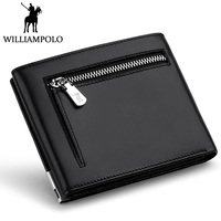 WILLIAMPOLO 2018 Trifold Wallet Men Zipper Coin Pocket Purse Genuine Leather Short Wallet For Men Fashion Card Holder Photo Case