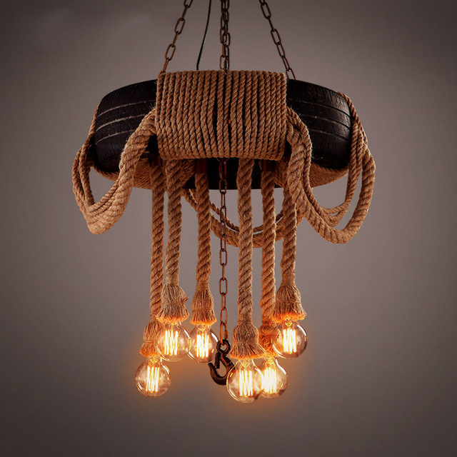 Vintage chandelier american country tyre and hemp rope chandelier vintage chandelier american country tyre and hemp rope chandelier brown bar dining room counter cafe lighting aloadofball Image collections