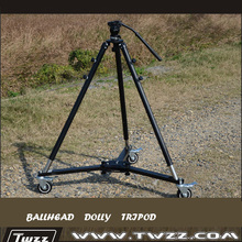 Twzz Professional 3 Wheels Dolly+Ballhead+Tripod For Camera Jibs Camera Track Rail