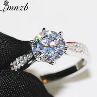 LMNZB Fine Jewelry 100% Original 925 Solid Silver Rings for Women Natural 1Ct CZ Zircon Wedding Anniversary Gift Rings LRJZ259