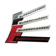 Alumínio 3d metal supercharged carro adesivo emblema emblema para audi a3 a4 a5 a6 q3 q5 q7 s4 s6 jeep bmw ford volvo nissan mazda kia