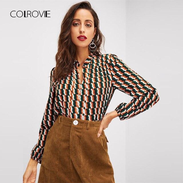10bbb7fac9b96 COLROVIE Geo Print Office Elegant Winter Ladies Blouse Shirt 2018 Spring  Autumn Fashion Long Sleeve Womens