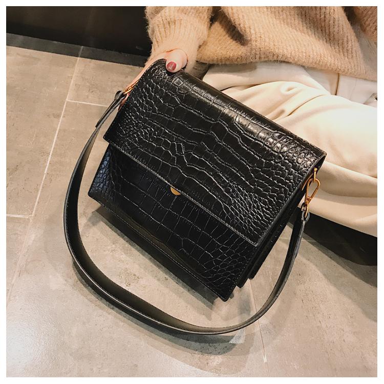 Crocodile Pattern Pu Leather Simple Women Square Handbag Crossbody Bags
