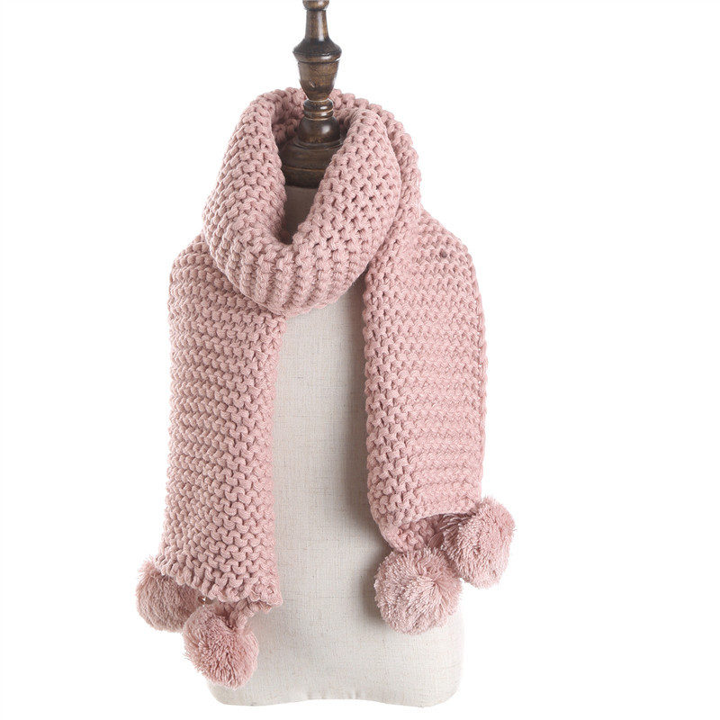 New Double Ball Scarf Children Winter Baby Neck Warm Scarves Girls Knitted Scarf Collar Baby Kids Solid Color Knitting Winter
