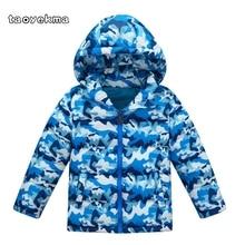 Зимнее пальто унисекс; Новая модная детская камуфляжная куртка-пуховик с капюшоном; Повседневная теплая одежда для мальчиков и девочек; верхняя одежда; J63