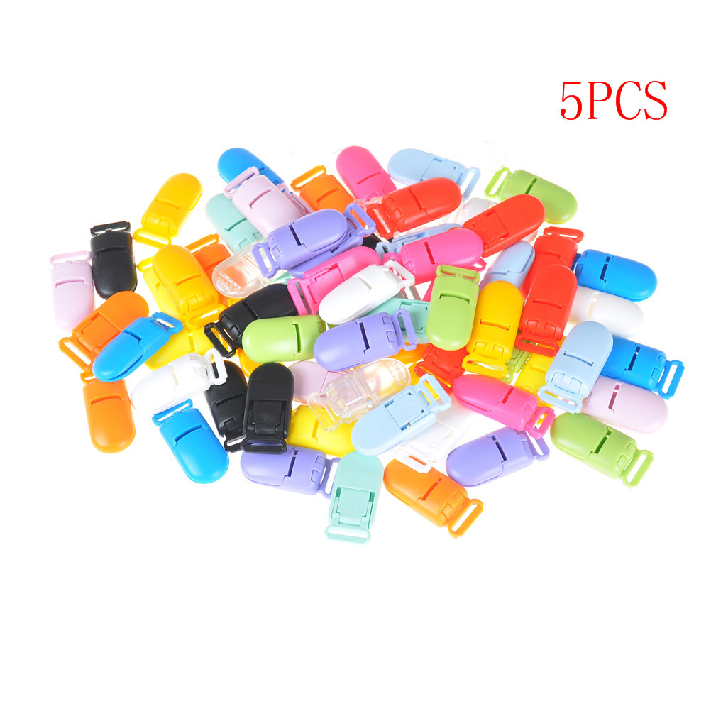 1/5Pcs Transparent Pacifier Clips Soother Holder Plastic Baby for Round Clamp Nipples