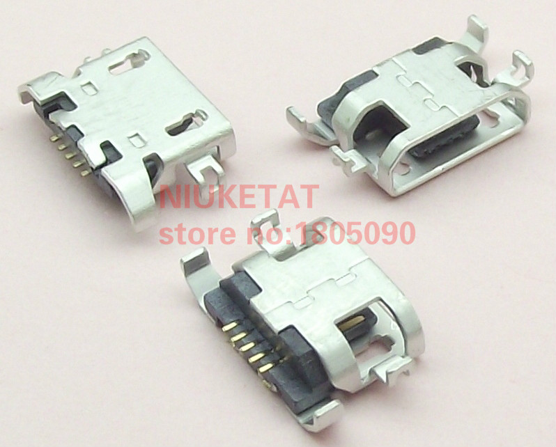 50pcs Micro USB 5pin Heavy Plate 1.28mm Flat Mouth Without Curling Female Connector For Lenovo A850 Mobile Phone Mini USB Jack