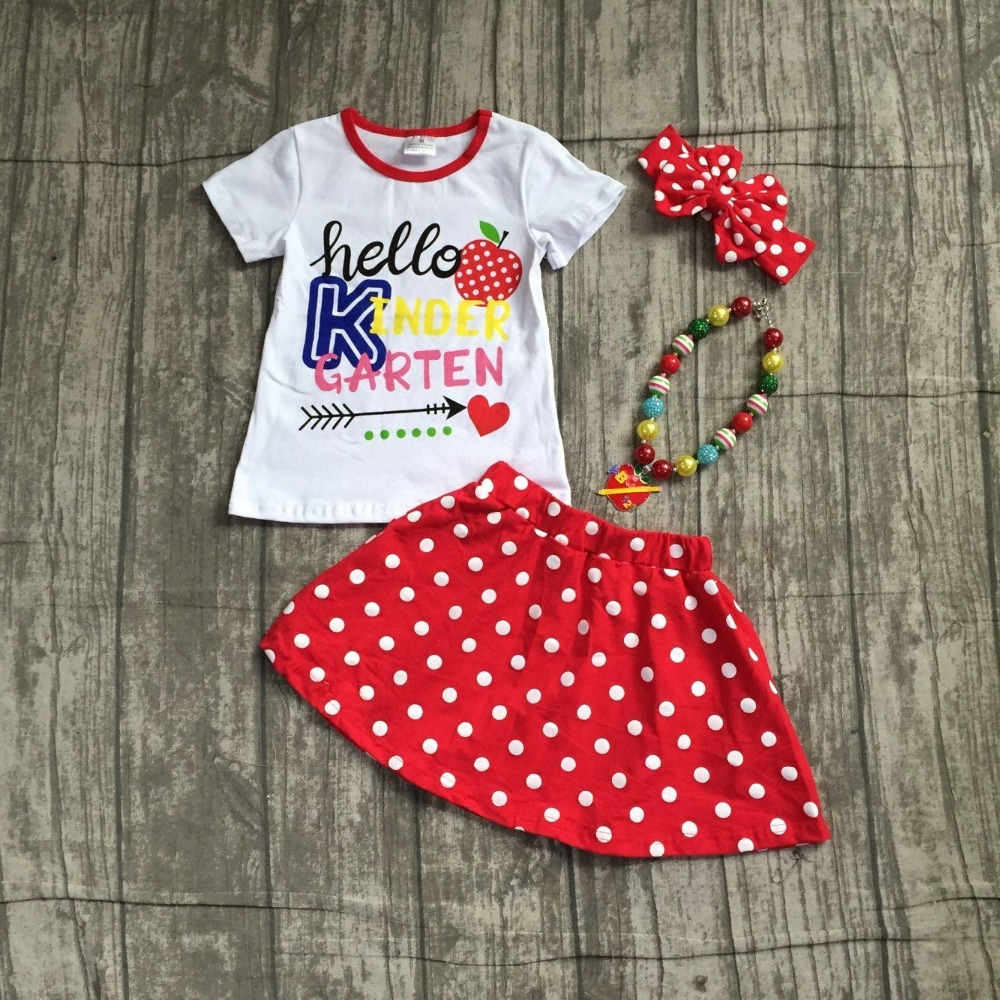 Garten Kinder Aliexpress Buy New Cotton Baby Girls Boutique Hello Kinder Garten Print Ruffles Skirt Back To School Outfits With Matching Accessories Outfits