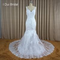 Wedding Dress Mermaid V Neckline Bare Back Sexy Style 2016 New Style Factory Custom Make 6142