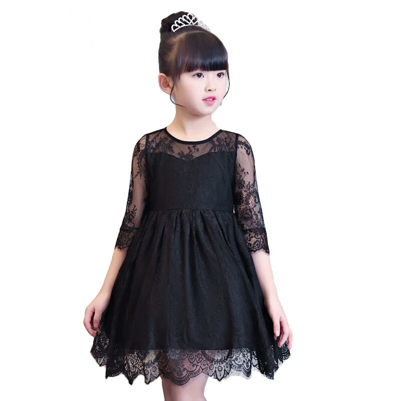 Baby Girls dresses 2018 fashion Summer Black Lace Kids clothes For Girls Wedding Party Elegant Toddler Princess Dress 3-11 Years fashion lace dress baby girl floral dresses princess party dress toddler infant elegant clothes wedding for flower girls dresses