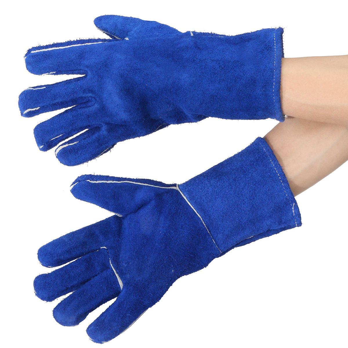 NEW 14 Welding Gloves Gauntlets Welder Hands Fire High Temperature Protection Blue Workplace Safety Glove 3 pairs oxygen tig welding gloves work gloves breathable firebreak welder safety glove