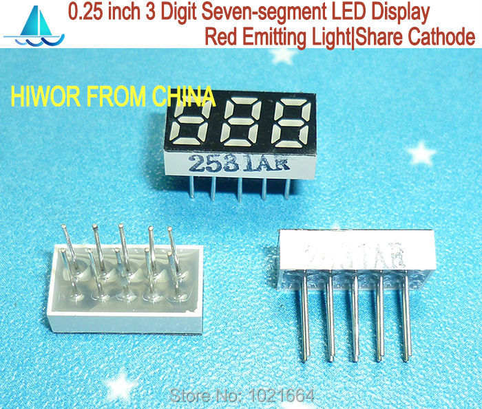(10pcs/lot) LED Display 0.25 Inch 10 Pins 3 Digits 7 Segment Red LED Display Share Common Cathode Digital Display 2531AR