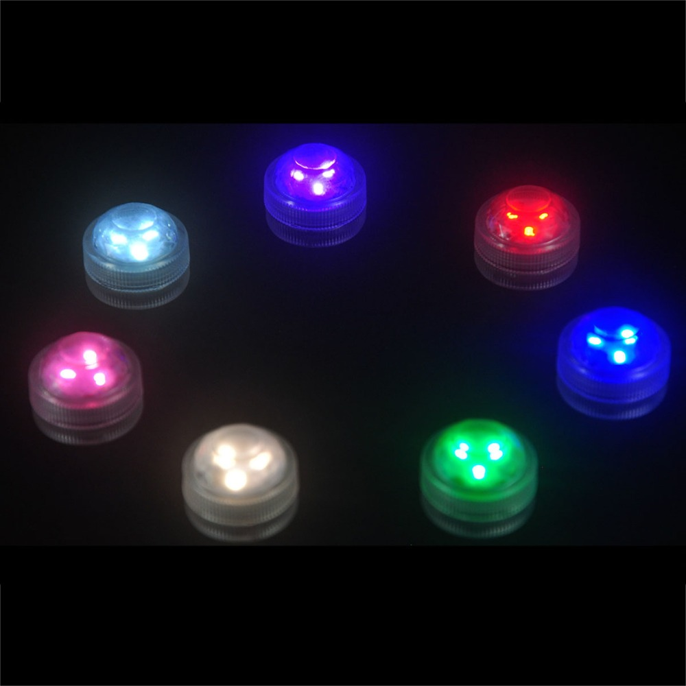 Flameless Electric Candle Lights Waterproof LED Wedding Decoration Floral Tea Lamp LED Aquarium Lamp 9 Colors outdoors party ues