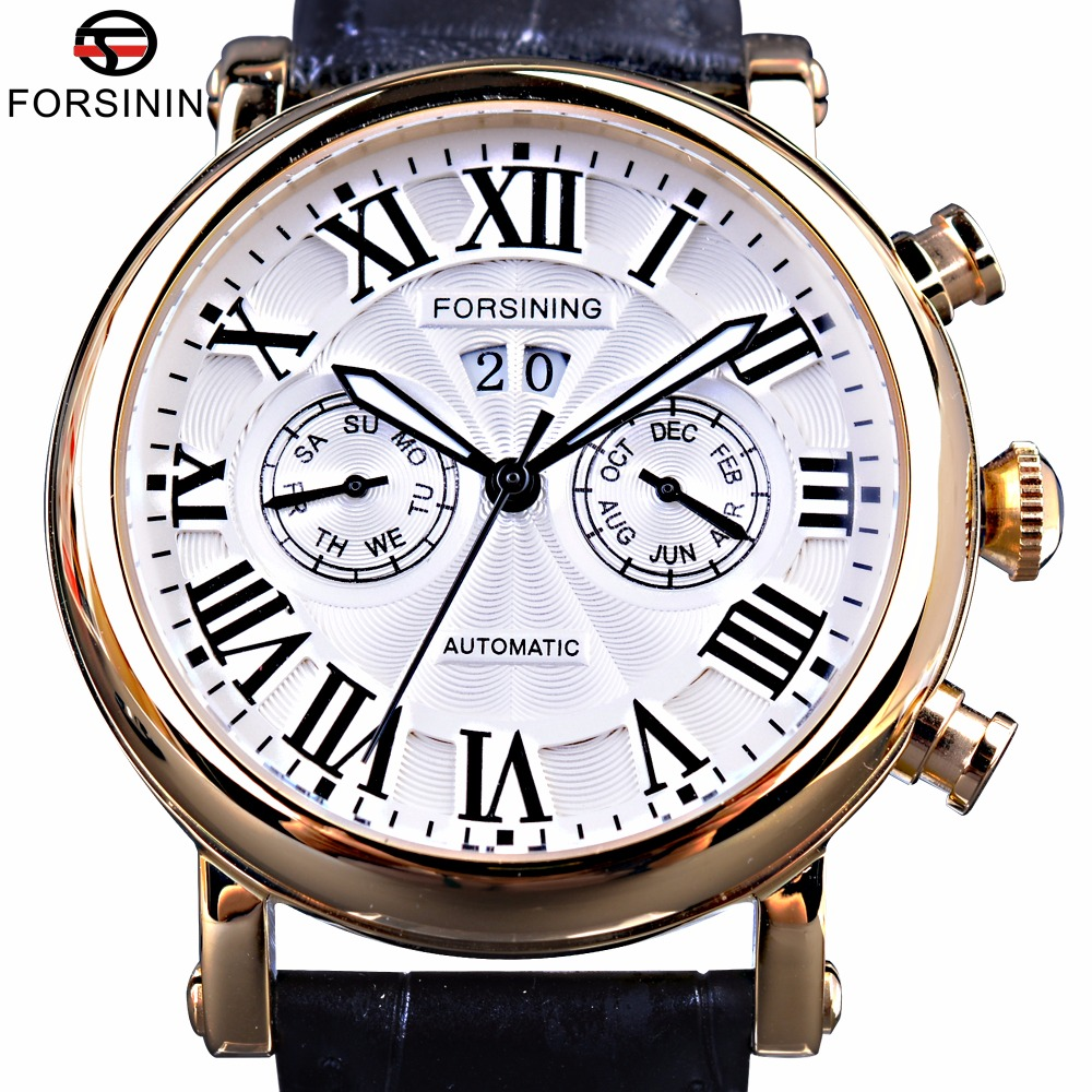 Forsining 2017 Classic Design Two Fashion Dials Display Roman Number Men Watches Top Brand Luxury Automatic Watch Fashion Clock 2017 fashion forsining watches men s brand day roman number flywheel auto mechanical watch wristwatch gift free ship