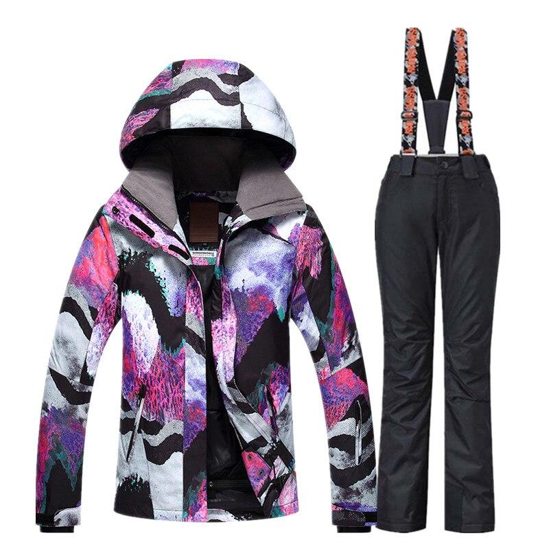 GSOU combinaison de Ski de neige femme veste de Ski pantalon hiver extérieur pas cher combinaison de Ski imperméable veste de Snowboard pantalon vêtements coupe-vent - 6