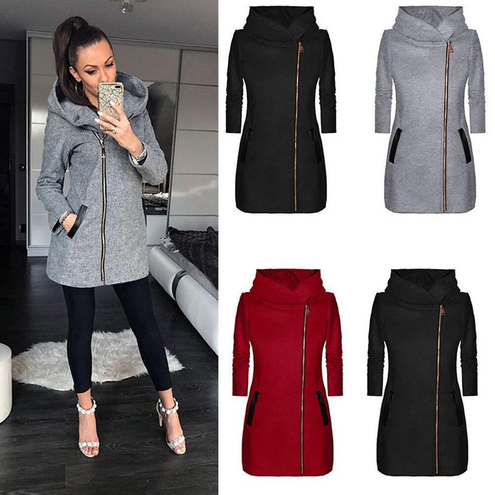 Otoño Invierno de las mujeres con capucha abrigo con sombrero manga larga espesar abrigo cálido chaqueta con cremallera Outwear H9