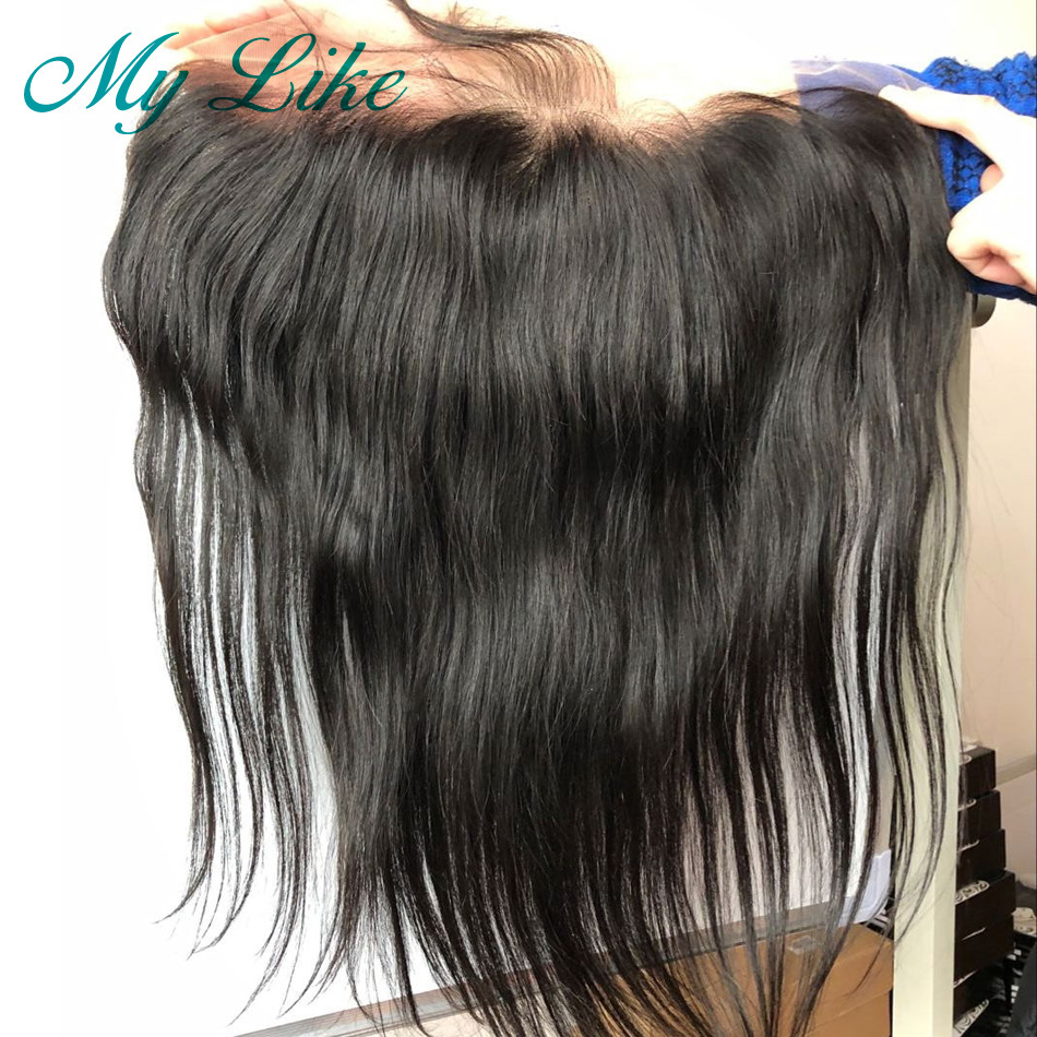 My Like Indian Remy Straight Transparent Lace Frontal 13x4 Ear to Ear Pre Plucked Human Hair Frontal Lace Closure Baby Hair