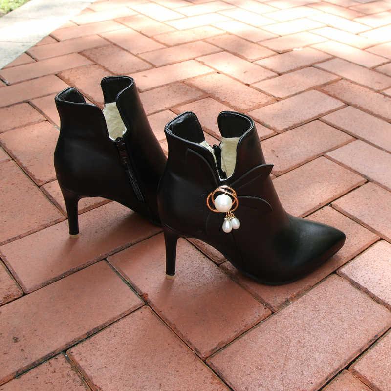 Женские ботильоны с кристаллами Meotina, зимние ботинки на высоком каблуке, на молнии, желтого, белого цветов, с цветком, свадебная обувь, большие размеры до 46-го
