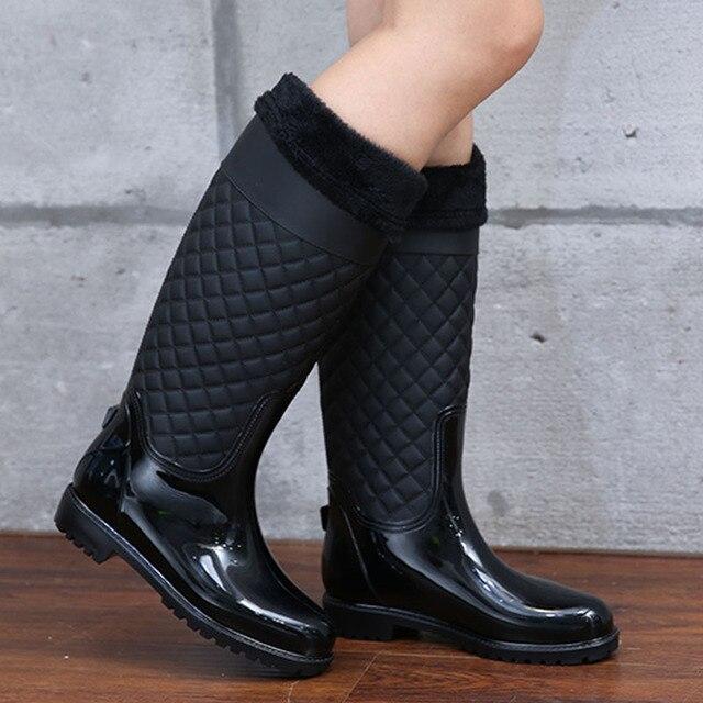 ff9d9f6c3 Women knee high Boots Waterproof Rubber Winter Dropshipping Women Rain Boots  Casual Ladies Hunter Boots Shoes