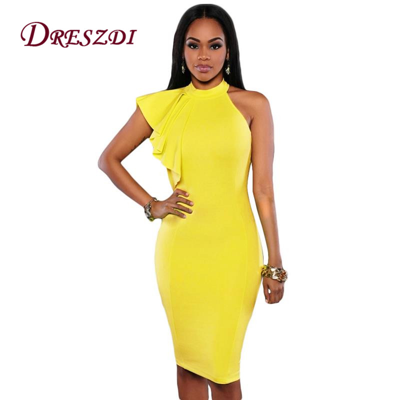 2017 Elegant One Shoulder Ruffles Sleeve Women Bodycon Dress Sexy Club Dress Summer Knee Length Ladies
