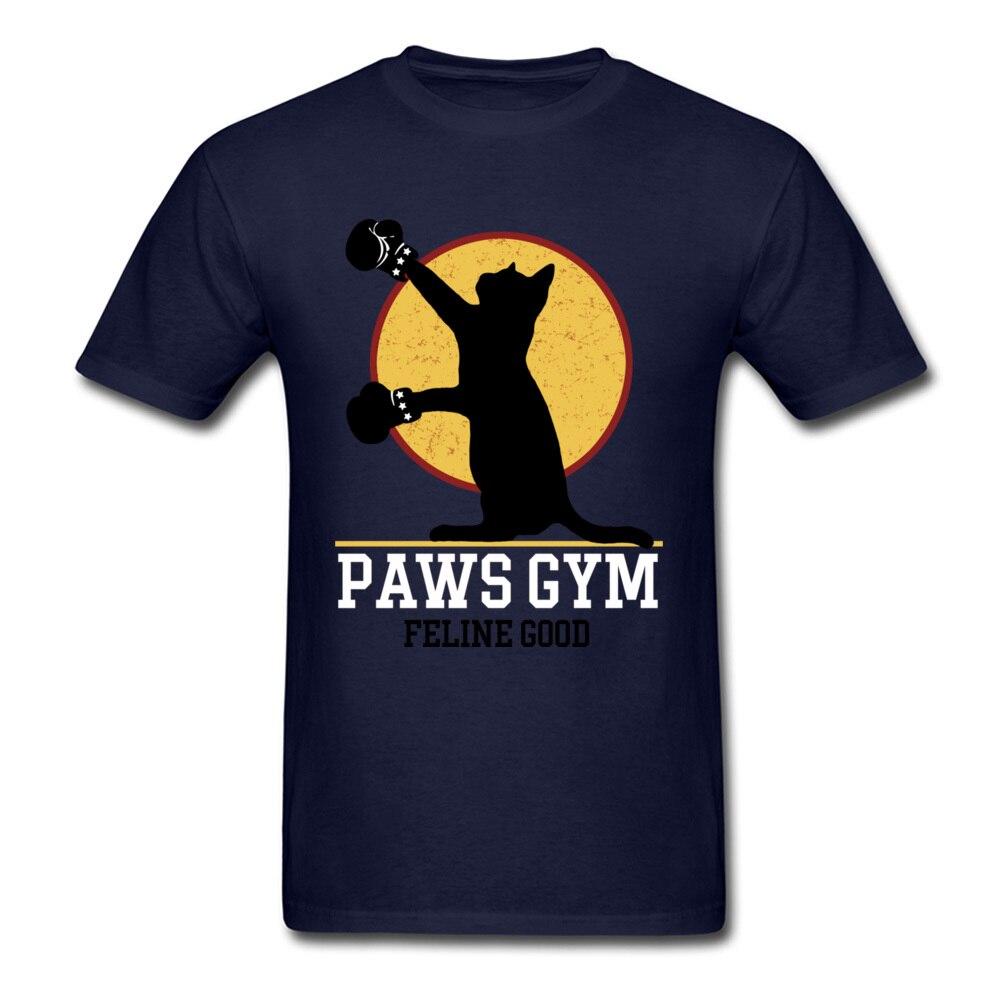Cat Cartoon Boxer Fun T-shirt For Men Custom Fashion Navy Blue Top Tee Shirts Cute Design Fathers Day Gift Clothing
