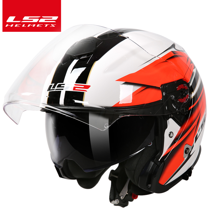 LS2 magasin mondial LS2 OF521 3/4 open face moto casque lentilles doubles racing demi casques moto casque cascos casque moto
