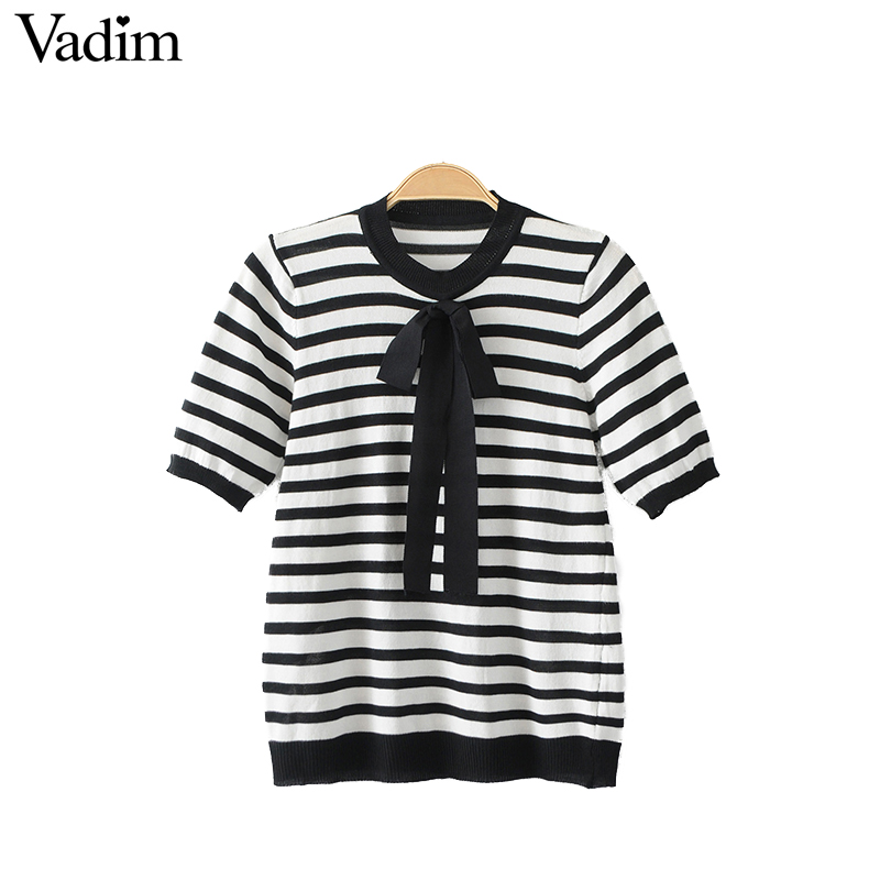 Vadim Women Sweet Bow Tie Knitted Stripped Shirts Elastic