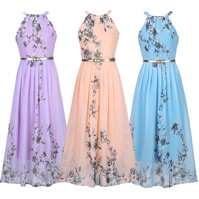 Floral Print Sleeveless Pleated Long Maxi