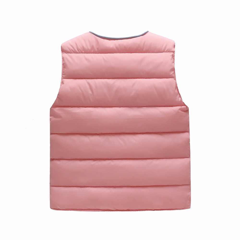 Осенне-зимний теплый жилет для мальчиков и девочек, куртка, легкий детский жилет без рукавов с круглым вырезом, детские пуховики, парки, жилеты, верхняя одежда для малышей