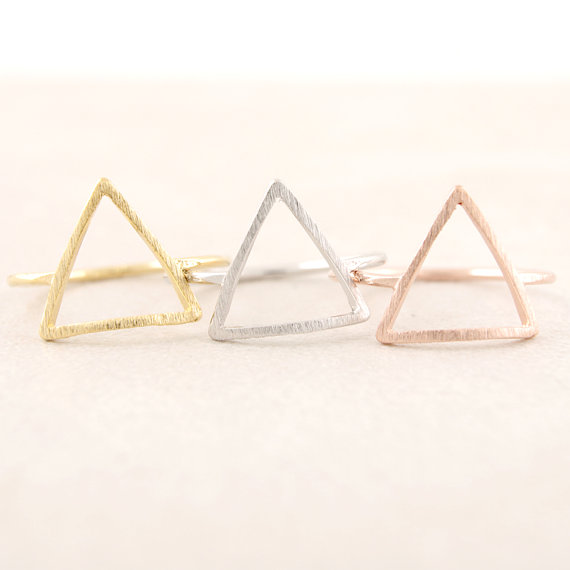 Gold,silver and rose gold geometry  triangle ring - 副本