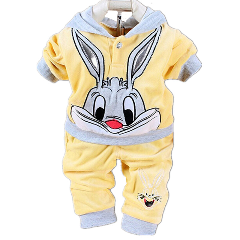 Spring Boys Long Sleeve Cartoon Rabbit Cow Hooded Jacket +Trousers Fashion Girls Cotton Zip Coat Pant Kids Casual Clothes 18M06