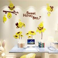 Cute cartoon Bee Flower 3d wall stickers for Kids Rooms Wall decoration kindergarten classroom Creative DIY Wall Sticker Decals
