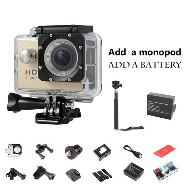 Mini Camera Sport Action Cam Car Recorder 720P HD Sport DV Helemt Camera Camcorder Go Waterproof Pro Style 2pcs battery+ Monopod