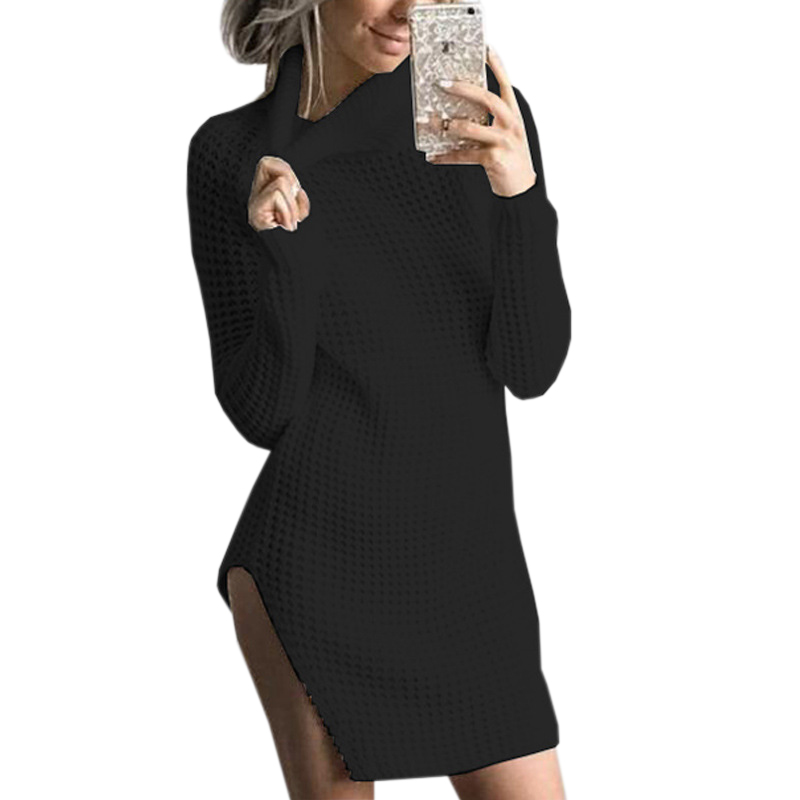 fa48e5a93030 Knitted Mini Sweater Dress Side Split Women Long Sleeve Knit White Dresses  Autumn Solid Winter Femme Turtleneck Casual GV994-in Dresses from Women's  ...