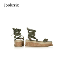 Jookrrix 2018 Summer Fashion Sexy Lady Roman Style Sandals Peep Toe Wedges Shoes Women Ankle Straps