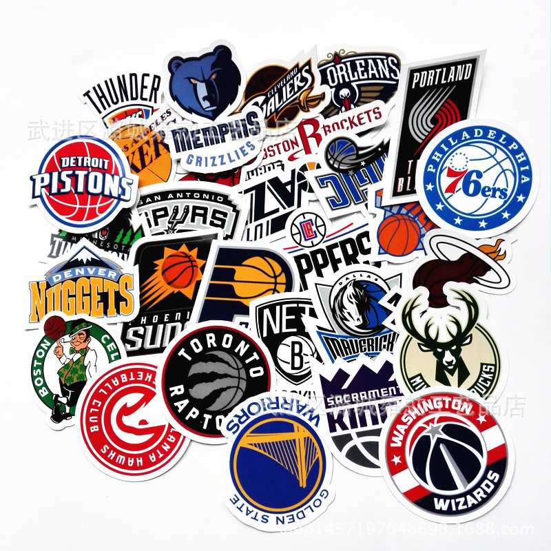 30-32pcs Basketball Football Team Logo Decoration Stationery Sticker Diy Diary Scrapbooking Label Sticker Stationery