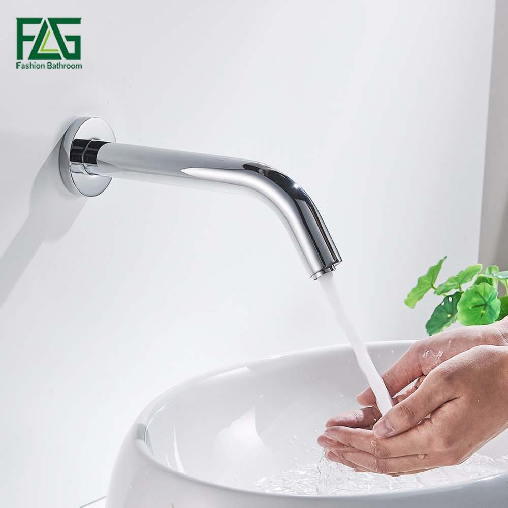 Contemporary Bath Mat Chrome Cast Cold Sensor Tap No Handle Automatic Water Faucet Washer Wall Mount