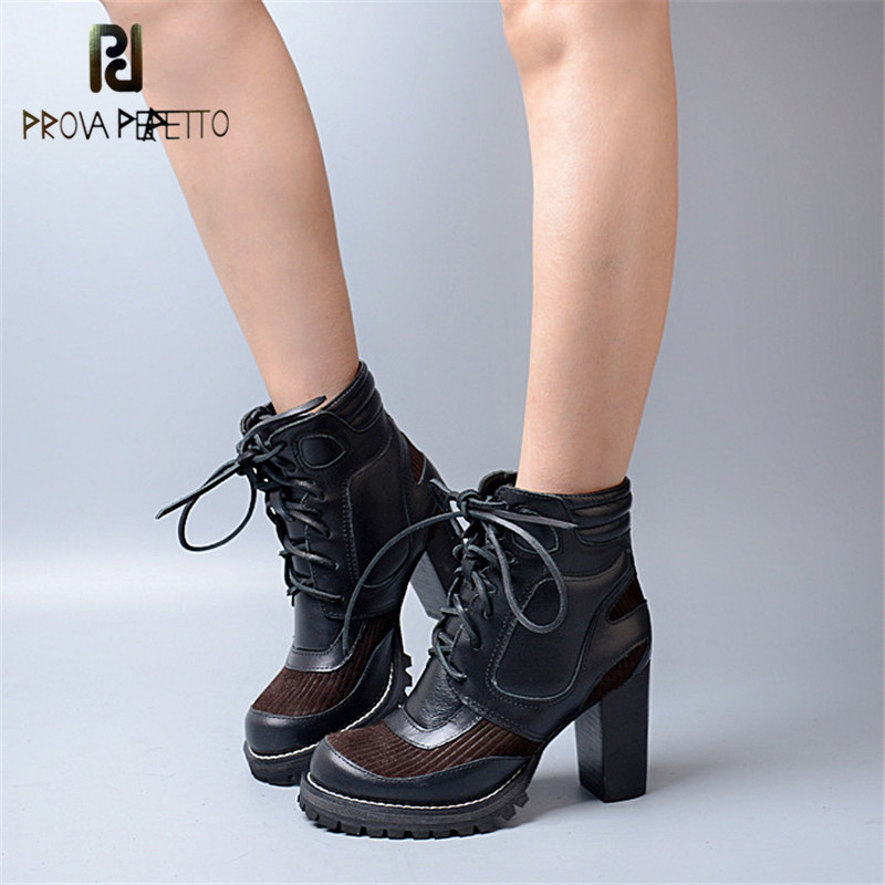 Prova Perfetto 2018 Super High Heel Euramerican Short Boots Thick Heel with Platform Thick Bottom Round Toe Knight Boots Black basic 2018 women thick heel ankle boots black pu fleeces round toe work shoe red heel winter spring lady super high heel boots