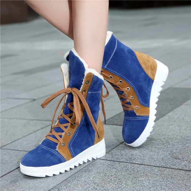 65af7c6cf77ee Snow Boots New Big Size Women's Winter Boots Lace-up Flat Sole Fur-leaning  Warm Fashion Folding Snow For Girls Women Shoes 169