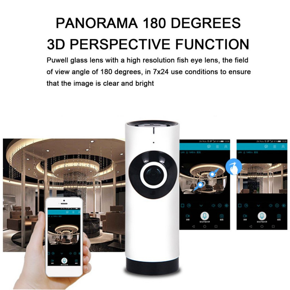 720p Wifi Panoramic Camera 360 Degree Fish-eye Smart Home Security Surveillance Baby Monitor Webcam Wireless Night Vision Camera Security & Protection Video Surveillance