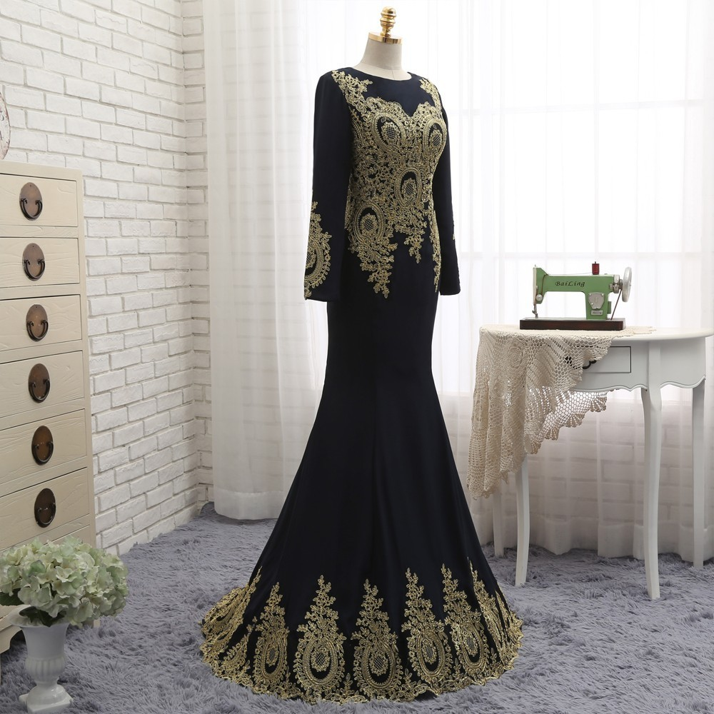HVVLF Muslim   Evening     Dresses   2019 Long Sleeves Chiffon Appliques Lace Elegant Long   Evening   Gown Prom   Dress   Prom Gown