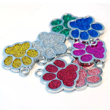 Trsnser Dog Collar Cute Purple Mini Shine Paw Dogs Cat ID Name Tags Metal Pet Jewelry Pink Necklace Green Harness 19Mer18 P40(China)