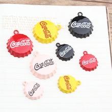 10pcs/lot Bottle Cap Enamel Charms Bracelets DIY Alloy Cola Design Pendant For Earring Jewelry Accessories 2 Sizes YZ110