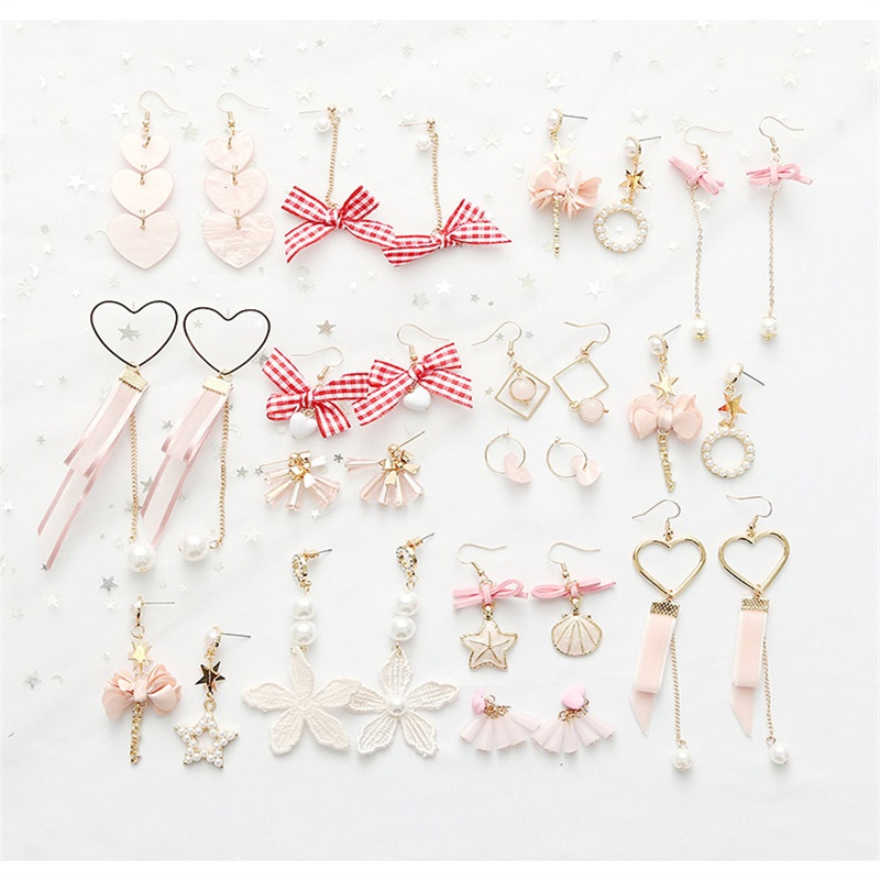 Statement Earrings Simulation-Pearl Xingyue Heart-Bow Pink Japan South Korea Ladies And