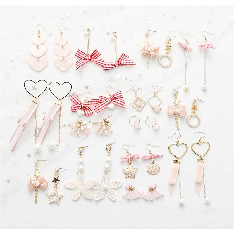 3# New Arrival Japan And South Korea Pink Acrylic Pendant Earrings, Simulation Pearl Xingyue Heart Bow Ladies Statement Earrings