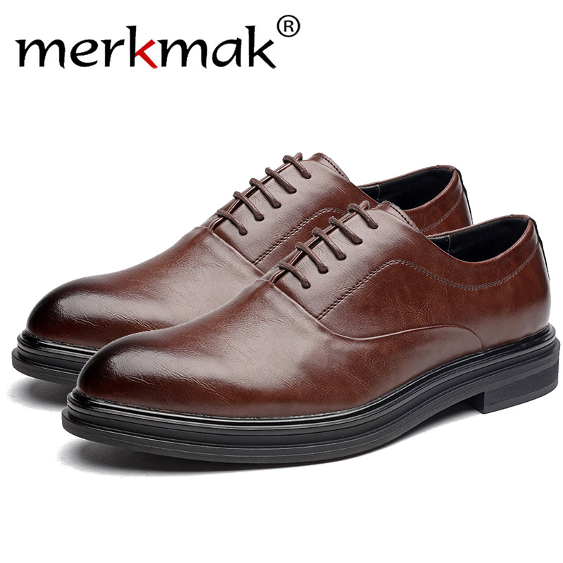 Merkmak Fashion Business Men Dress Shoes Leather Pointed Toe Slip On Flats Loafers Formal Office Shoes Men Leather Oxfords
