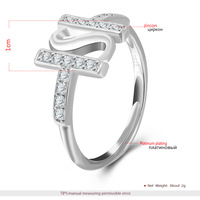 2017 S925 Sterling Silver Letter Adjustable Ring For Women White Gold Jewelry Explosion Personality Anniversary Gifts